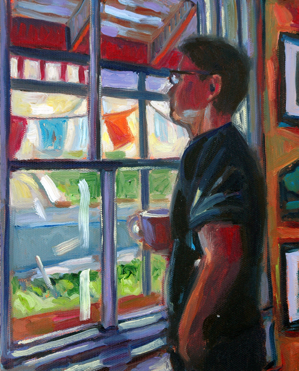 """Surveying the street, 8""""x10"""", Oil on Canvas."""