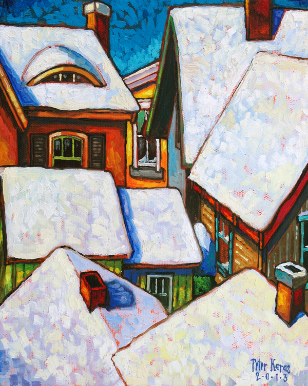 "Snowy Rooftops, 8""x10"", Oil on Canvas"