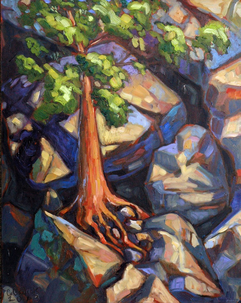 "Cave on the rock face, Bon Echo, 11x14"", Oil on Panel, Corinne Garlick."