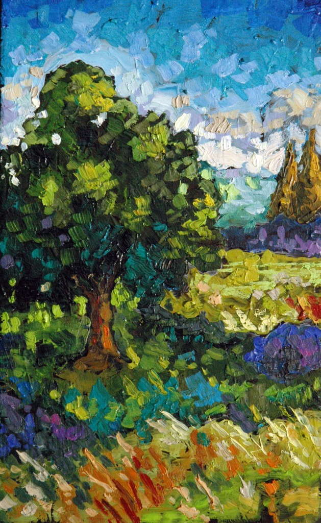 "Trees and Field, 4x6"", oil on panel, Peter Karas."