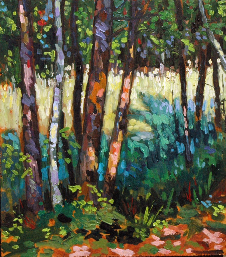 "Trees at site 920, Pinery Park, 8x10"", oil on panel, Peter Karas"